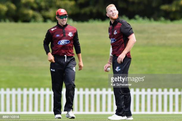 Ben Stokes of Canterbury looks on after taking a catch to dismiss Anton Devcich during the One Day Ford Trophy Cup match between Canterbury and...