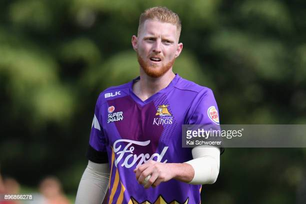 Ben Stokes of Canterbury looks on during the Super Smash match between the Canterbury Kings and the Central Stags on December 22 2017 in Rangiora New...
