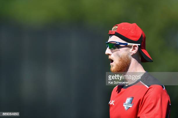 Ben Stokes of Canterbury looks on prior to the One Day Ford Trophy Cup match between Canterbury and Northern Districts on December 10 2017 in...