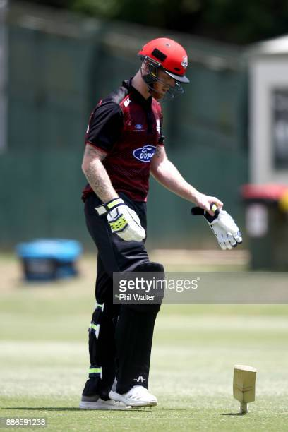 Ben Stokes of Canterbury looses his bat after being dismissed LBW by Tarun Nethula of Auckland during the Ford Trophy match between Auckland and...