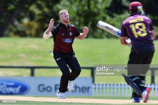 Ben Stokes of Canterbury reacting during the One Day Ford Trophy Cup match between Canterbury and Northern Districts on December 10 2017 in...