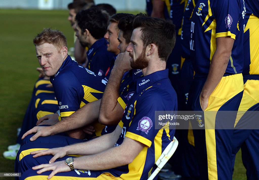 Ben Stokes (L) of Durham during the Durham CCC Photocall at The Riverside on March 31, 2015 in Chester-le-Street, England.