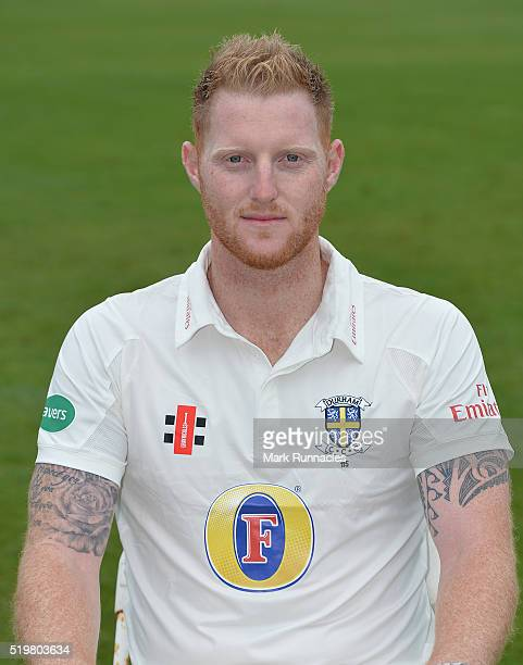 Ben Stokes of Durham poses for a photograph during the Durham County Cricket Club photocall at the Riverside on April 8 2016 in ChesterLeStreet...