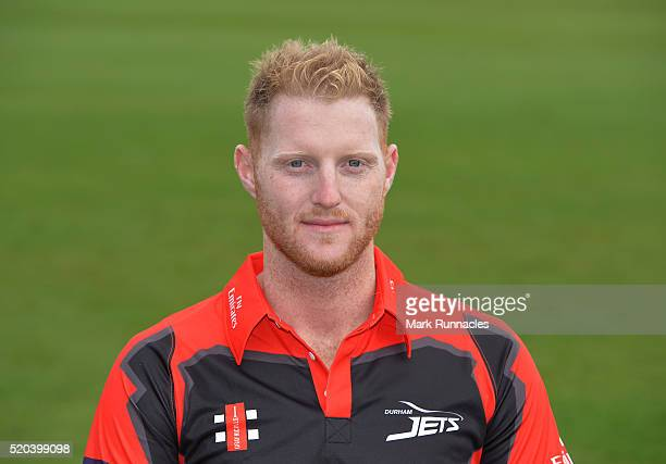Ben Stokes of Durham poses for a photograph in the T20 kit during the Durham County Cricket Club photocall at the Riverside on April 8 2016 in...