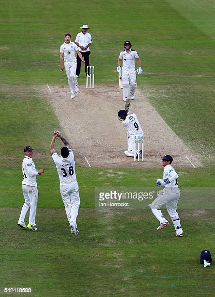 Ben Stokes of Durham takes the catch for the wicket of Adam Lyth during day four of the Specsavers County Championship Division One match between...