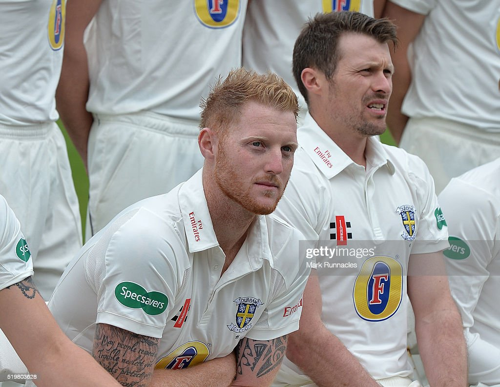 Ben Stokes of Durham waits in the chilly morning air for the Durham County Cricket Club photocall to start at the Riverside on April 8, 2016 in Chester-Le-Street, England.