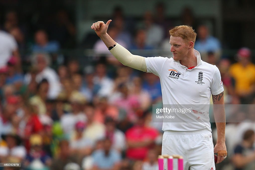 Ben Stokes of England acknowledges his fifth wicket to the crowd after taking the wicket of Peter Siddle of Australia during day one of the Fifth Ashes Test match between Australia and England at Sydney Cricket Ground on January 3, 2014 in Sydney, Australia.
