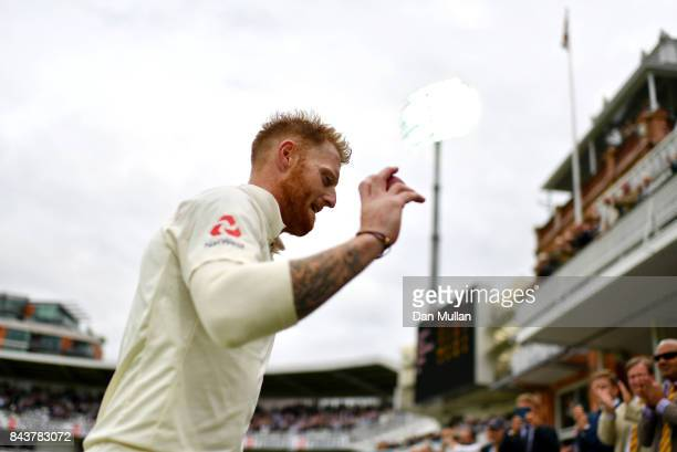 Ben Stokes of England acknowledges the crowd as he leaves the field after taking six wickets during day one of the 3rd Investec Test Match between...