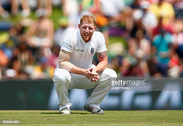 Ben Stokes of England after taking the second to last wicket during day two of the 4th Test at Supersport Park on January 23 2016 in Centurion South...