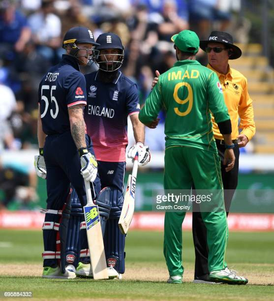 Ben Stokes of England and Imad Wasim of Pakistan exchange words during the ICC Champions Trophy Semi Final between England and Pakistan at SWALEC...