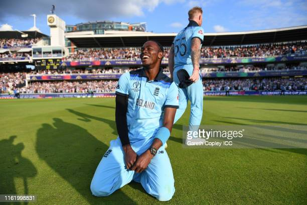 Ben Stokes of England and Jofra Archer of England celebrate after winning the Cricket World Cup during the Final of the ICC Cricket World Cup 2019...