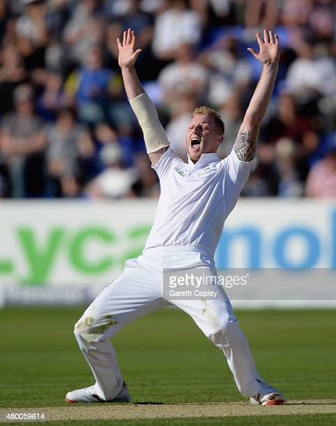 Ben Stokes of England appeals during day two of the 1st Investec Ashes Test match between England and Australia at SWALEC Stadium on July 9 2015 in...