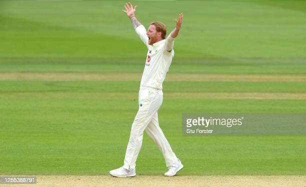 Ben Stokes of England appeals for LWB on the wicket of Kraigg Brathwaite of the West Indies during Day Three of the 1st #RaiseTheBat Test Series...