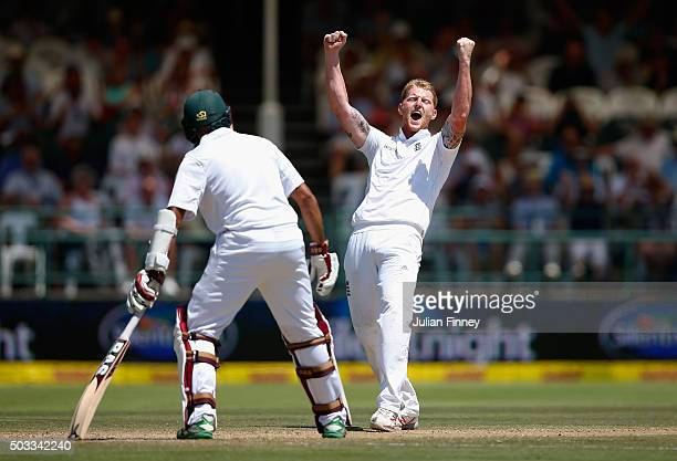Ben Stokes of England appeals lbw for AB de Villiers of South Africa but the review is given not out during day three of the 2nd Test at Newlands...