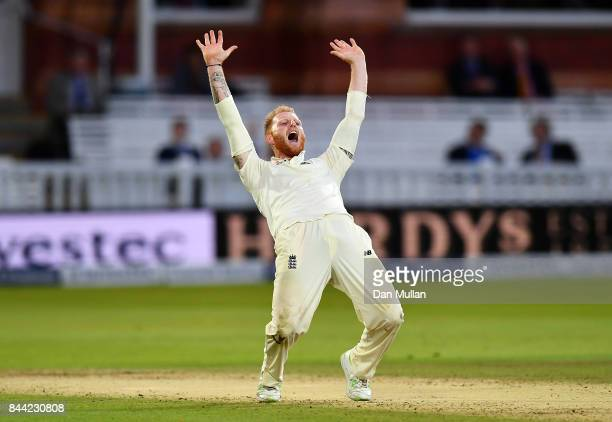 Ben Stokes of England appeals unsuccessfully for the wicket of Shai Hope of the West Indies during day two of the 3rd Investec Test Match between...
