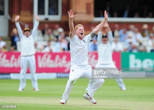 Ben Stokes of England appeals unsuccessfully for the wicket of Tom Latham of New Zealand during day two of the 1st Investec Test Match between...
