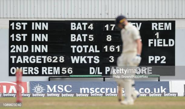 Ben Stokes of England at the crease with England needing an innings total of 628 runs to win during the fourth day of the first Test match between...