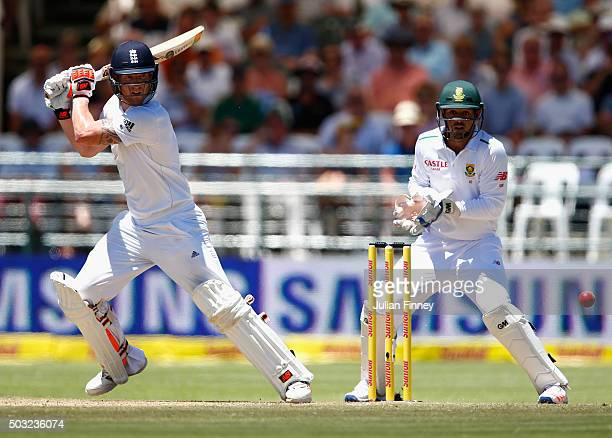 Ben Stokes of England bats as Quinton de Kock of South Africa keeps wicket during day two of the 2nd Test at Newlands Stadium on January 3 2016 in...