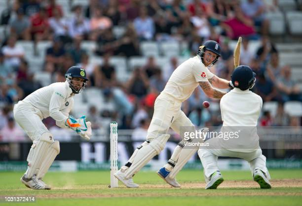 Ben Stokes of England bats during day four of the Specsavers 3rd Test match between England and India at Trent Bridge on August 21 2018 in Nottingham...
