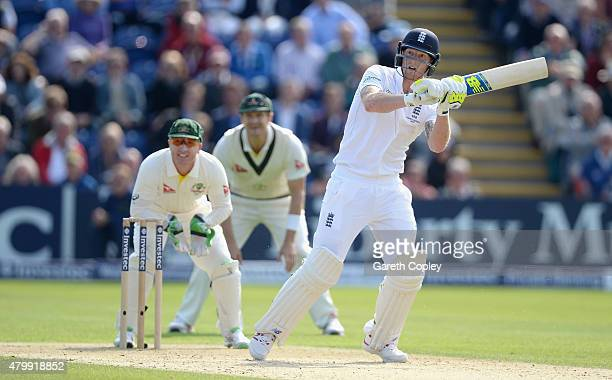 Ben Stokes of England bats during day one of the 1st Investec Ashes Test match between England and Australia at SWALEC Stadium on July 8 2015 in...