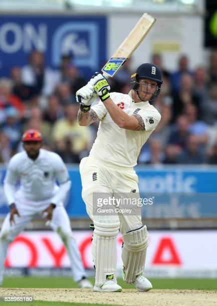 Ben Stokes of England bats during day one of the 2nd Investec Test between England and the West Indies at Headingley on August 25 2017 in Leeds...