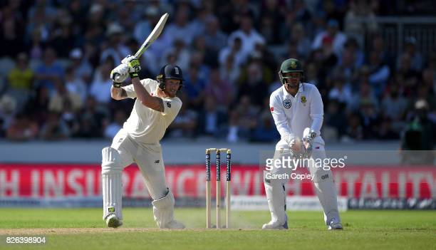 Ben Stokes of England bats during day one of the 4th Investec Test between England and South Africa at Old Trafford on August 4 2017 in Manchester...