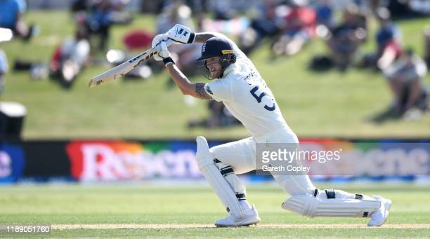 Ben Stokes of England bats during day one of the first Test match between New Zealand and England at Bay Oval on November 21, 2019 in Mount...