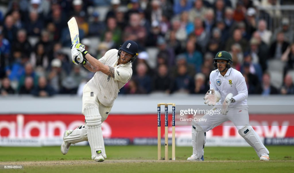 Ben Stokes of England bats during day three of the 4th Investec Test match between England and South Africa at Old Trafford on August 6, 2017 in Manchester, England.