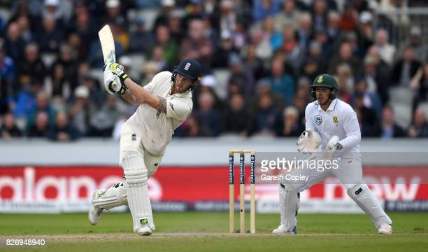 Ben Stokes of England bats during day three of the 4th Investec Test match between England and South Africa at Old Trafford on August 6 2017 in...