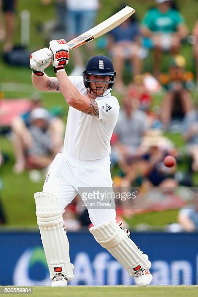 Ben Stokes of England bats during day three of the 4th Test at Supersport Park on January 24 2016 in Centurion South Africa