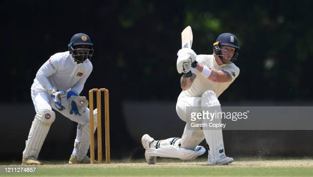Ben Stokes of England bats during day three of the tour match between SLC Board President's XI and England at Chilaw Marians Cricket Club Ground on...