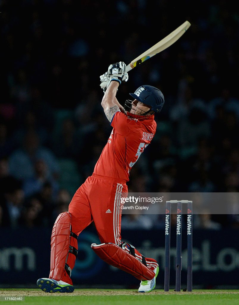 Ben Stokes of England bats during the 1st NatWest International T20 match between England and New Zealand at The Kia Oval on June 25, 2013 in London, England.