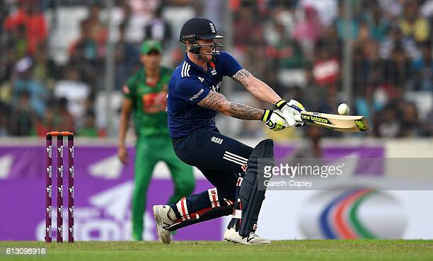 Ben Stokes of England bats during the 1st One Day International match between Bangladesh and England at ShereBangla National Cricket Stadium on...
