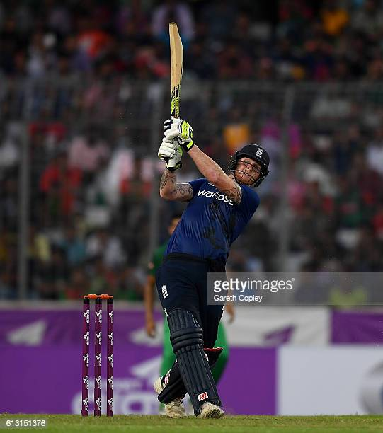 Ben Stokes of England bats during the 1st One Day International match between Bangladesh and England at ShereBangla National Cricket Stadium on...