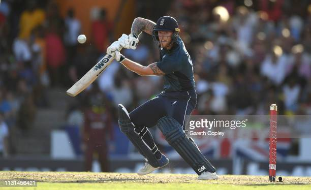 Ben Stokes of England bats during the 2nd One Day International match between the West Indies and England at Kensington Oval on February 22 2019 in...