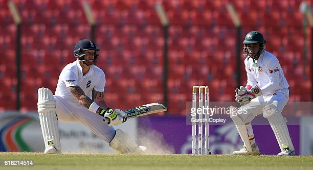 Ben Stokes of England bats during the 3rd day of the 1st Test match between Bangladesh and England at Zohur Ahmed Chowdhury Stadium on October 22...