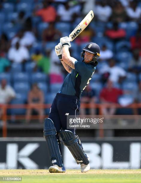 Ben Stokes of England bats during the 4th One Day International match between the West Indies and England at Grenada National Stadium on February 27...