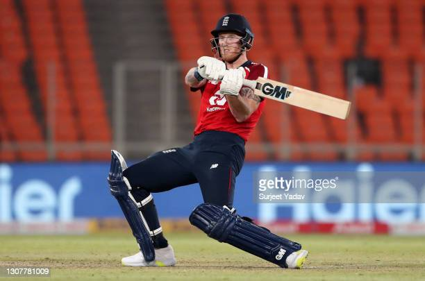 Ben Stokes of England bats during the 4th T20 International between India and England at Narendra Modi Stadium on March 18, 2021 in Ahmedabad, India.