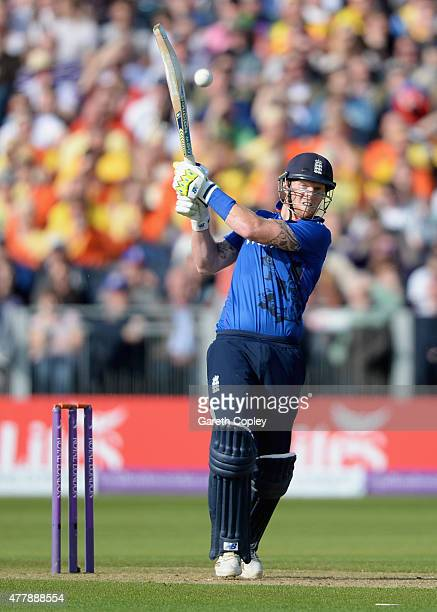 Ben Stokes of England bats during the 5th ODI Royal London OneDay match between England and New Zealand at Emirates Durham ICG on June 20 2015 in...