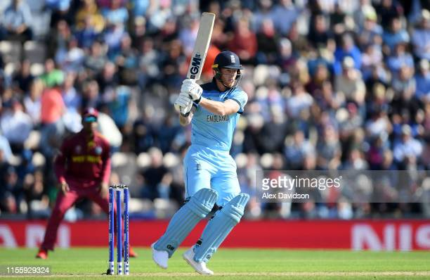 Ben Stokes of England bats during the Group Stage match of the ICC Cricket World Cup 2019 between England and West Indies at The Hampshire Bowl on...