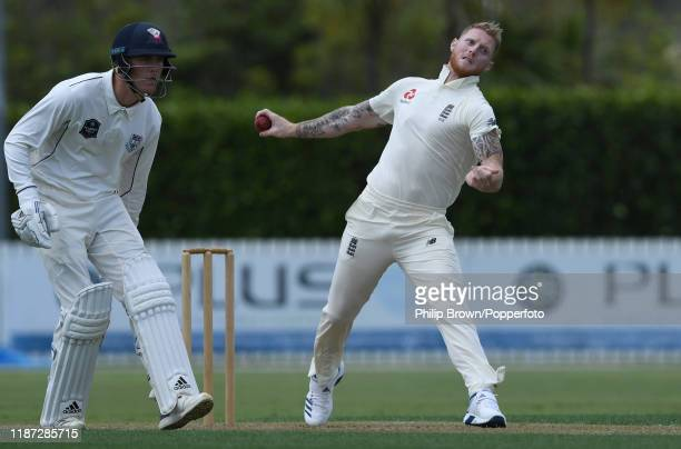 Ben Stokes of England bowls at Cobham Oval on November 13 2019 in Whangarei New Zealand