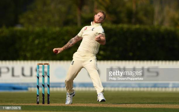 Ben Stokes of England bowls at Cobham Oval on November 17, 2019 in Whangarei, New Zealand.