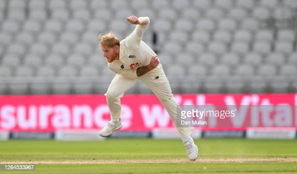 Ben Stokes of England bowls during Day Three of the 1st #RaiseTheBat Test Match between England and Pakistan at Emirates Old Trafford on August 07...
