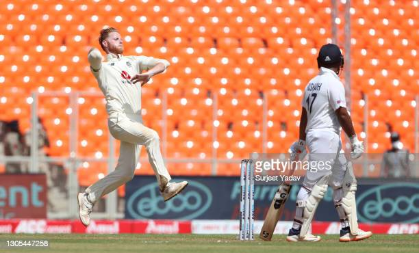 Ben Stokes of England bowls during Day Two of the 4th Test Match between India and England at Sardar Patel Stadium on March 05, 2021 in Ahmedabad,...