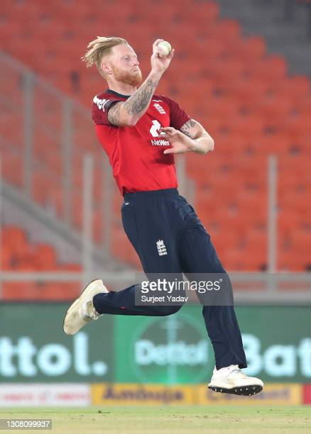 Ben Stokes of England bowls during the 5th T20 International between India and England at Narendra Modi Stadium on March 20, 2021 in Ahmedabad, India.