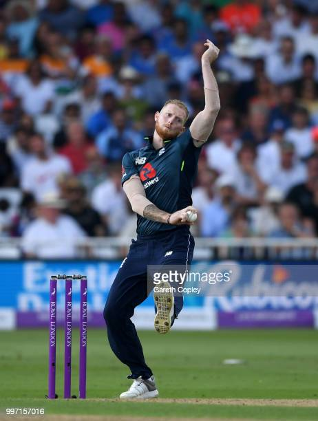 Ben Stokes of England bowls during the Royal London OneDay match between England and India at Trent Bridge on July 12 2018 in Nottingham England