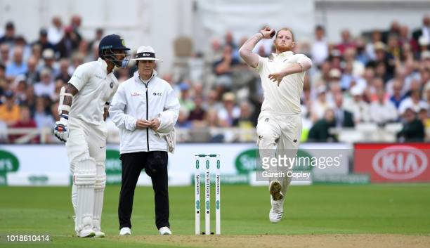 India batsman Lokesh Rahul pulls a ball towards the boundary during day one of the 3rd Specsavers Test Match between England and India at Trent...
