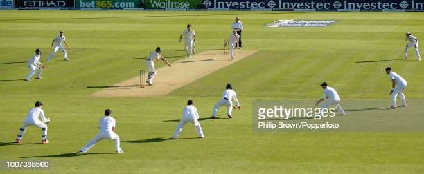 Ben Stokes of England bowls the last over of day two to Nathan Lyon of Australia as Joe Root fields at 3rd slip during the 1st Ashes Test match...