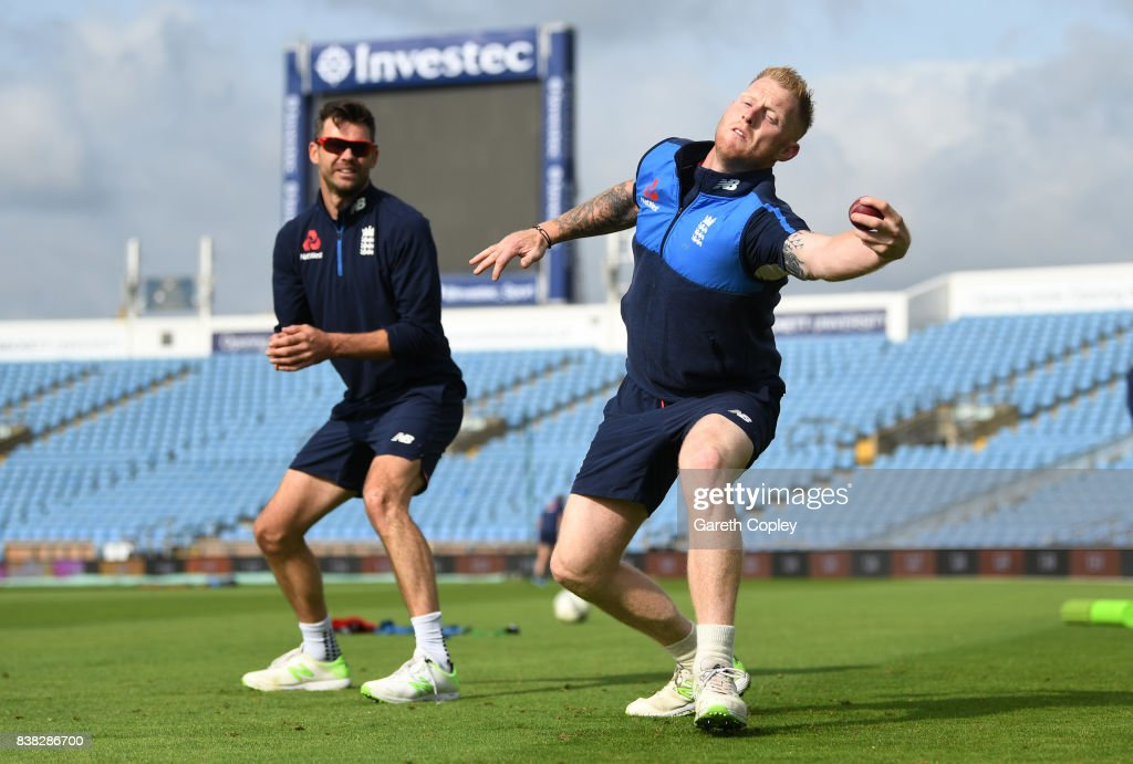 Ben Stokes of England catches alongside James Anderson during a nets session at Headingley on August 24, 2017 in Leeds, England.