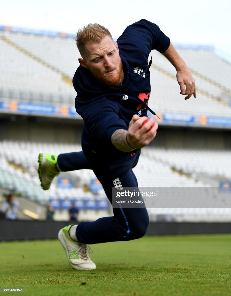 Ben Stokes of England catches during a nets session at Edgbaston on August 16, 2017 in Birmingham, England.
